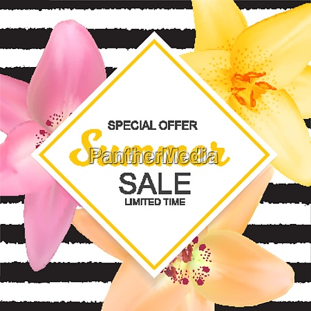summer sale banner with lily flowers
