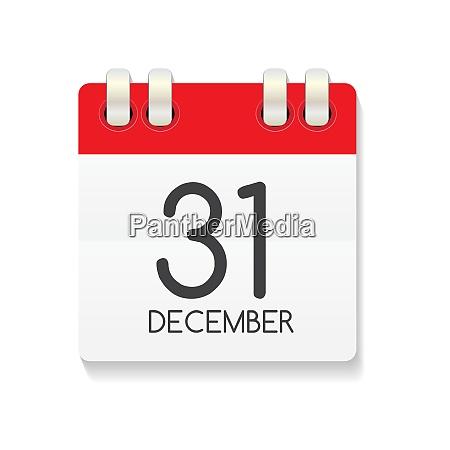 flat calendar icon of 31 december