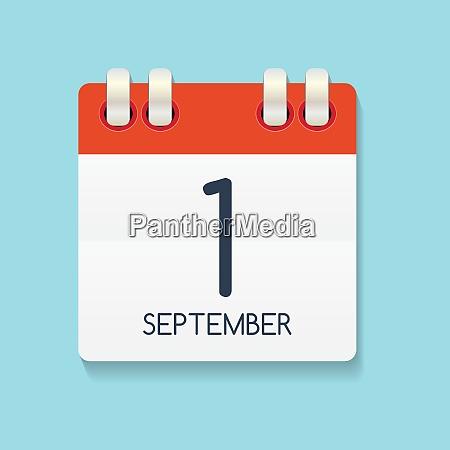 flat calendar icon of 1 september