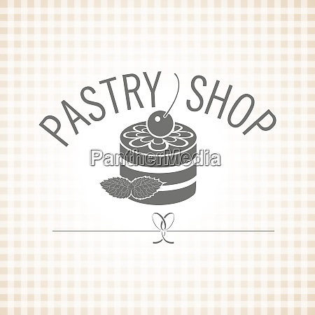 suesswaren konditorei vector monochrome logo kuchen