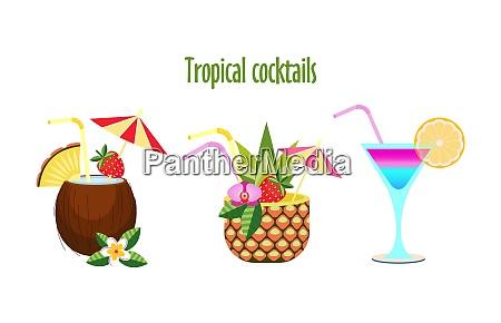 set tropischer cocktails vector illustration isoliert