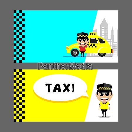 taxifahrer und taxi set von vektorabbildungen
