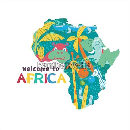 afrikanische zeichentricktiere eine silhouette afrikas