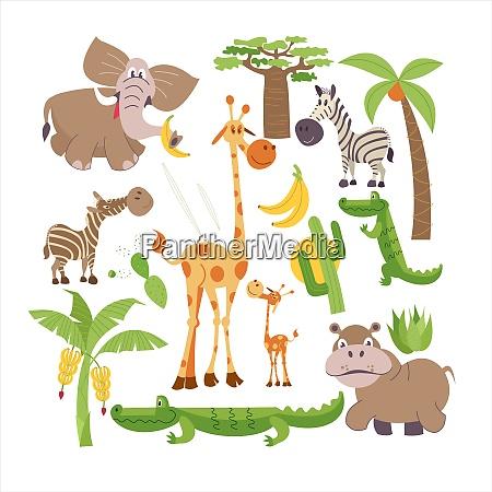 afrikanische cartoon tiere afrika afrikanische cartoon