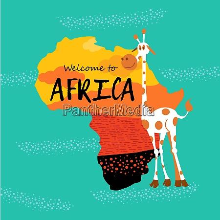 afrikanische zeichentricktiere silhouette von afrika
