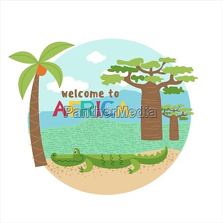 afrikanische zeichentricktiere afrikanisches krokodil in