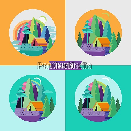 camping vector illustration summer outdoor recreation