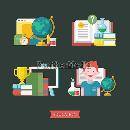 education school vector emblem logo set