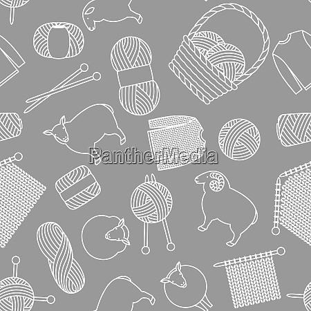 seamless pattern with wool items goods