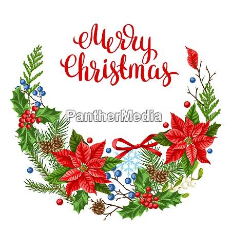 grusskarte mit winterpflanzen frohe weihnachten urlaub