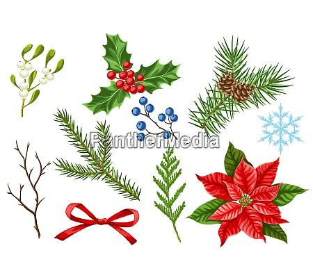 set von frohe weihnachten winterpflanzen urlaub