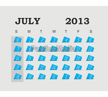 vector calendar 2013 blue july vector