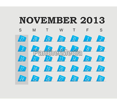 vektorkalender 2013 blau november vektor illustration