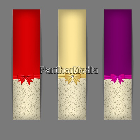 set of three banners with ribbons