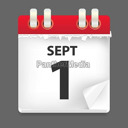 1 september datum vektorabbildung