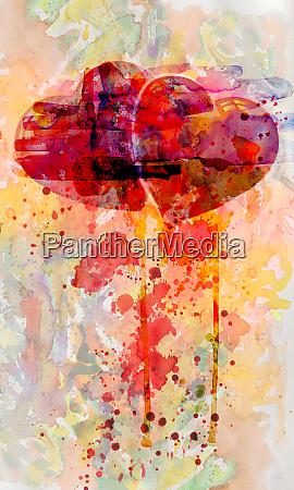 aquarell mit zwei roten herzen liebe