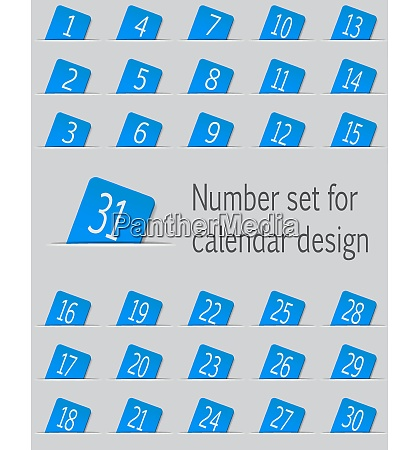 set of calendar icons with numbers