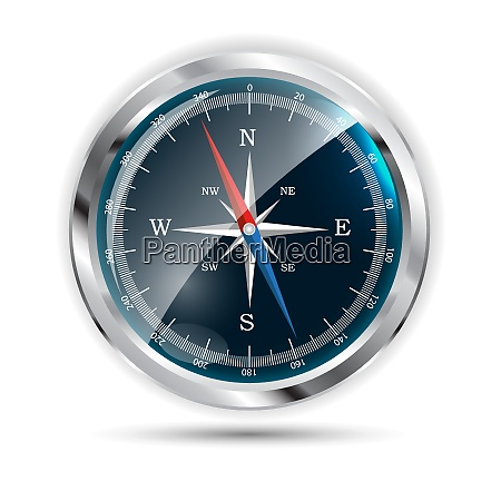 glossy compass on white vector illustration