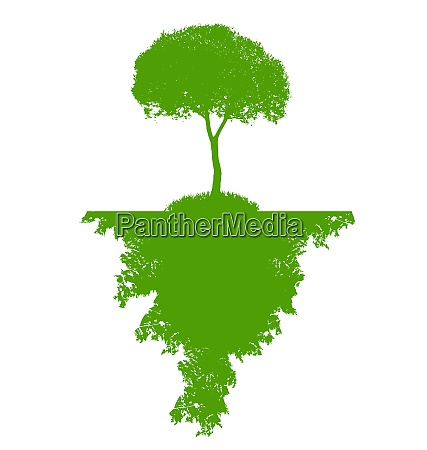 abstract green silhouette tree vector illustration
