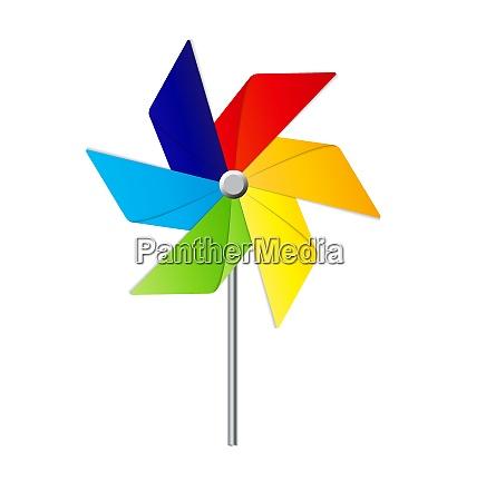 farbige windmuehle spielzeug isoliert vektor illustration