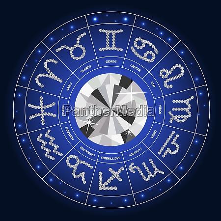set of symbol zodiac sign diamond
