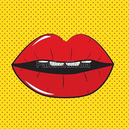 open red lips pop art background