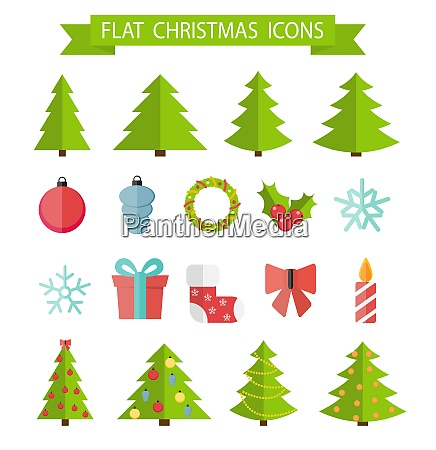 christmas flat icon set vector illustration