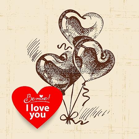 valentinersquos day vintage background hand drawn
