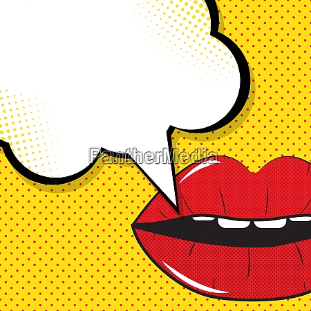 open red lips with speech bubble