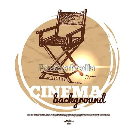 filmkino banner mit handgezeichneten skizzendarstellung