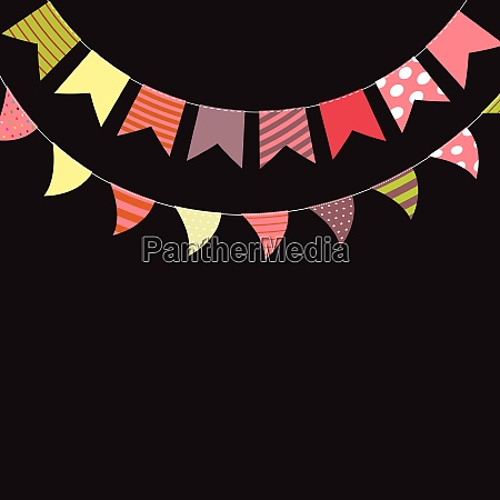colored party flags set vector illustration