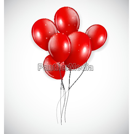 set of red balloons vector illustration