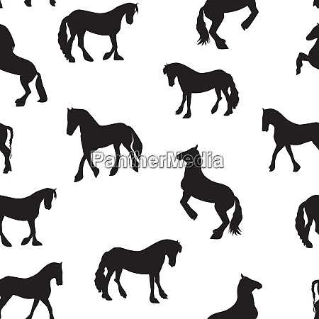 black horse silhouette seamless pattern vector