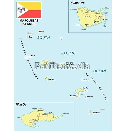 marquesas islands vector map with flag