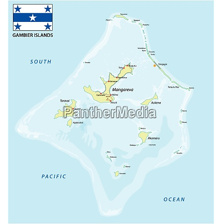 gambier islands vector map with flag