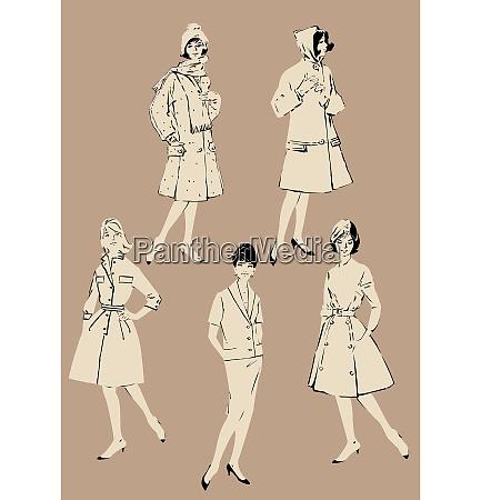 set von eleganten frauen retro fashionmodelle