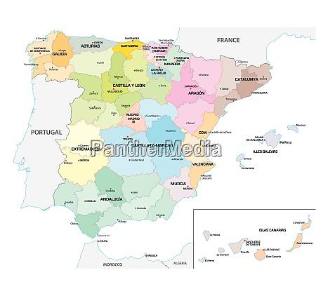 farbige administrative und politische vektorkarte der