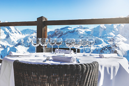 outdoor luxury restaurant table with beautiful