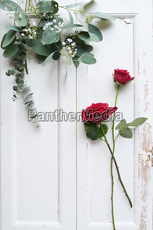 flower decoration on white wooden background