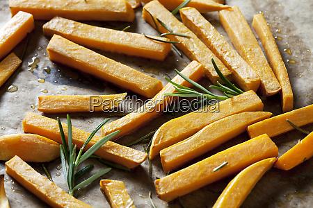 preparing sweet potato fries close up