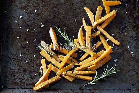 preparing sweet potato fries