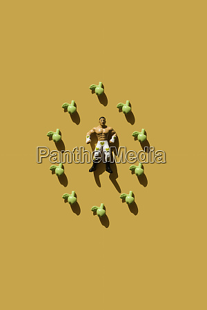 3d rendering strong man with green