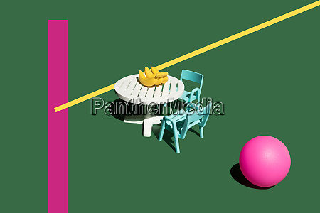 3d rendering table chairs bananas pink