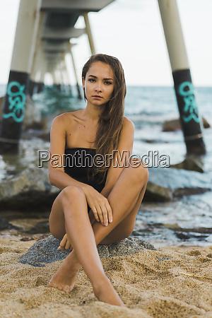 portrait of beautiful young woman wearing