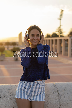 spain barcelona montjuic smiling young woman