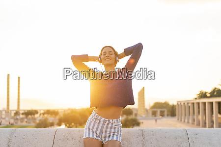 spain barcelona montjuic happy young woman
