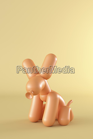 3d rendering balloon dog sitting in