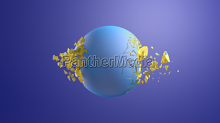 3d rendering blue sphere bursting in