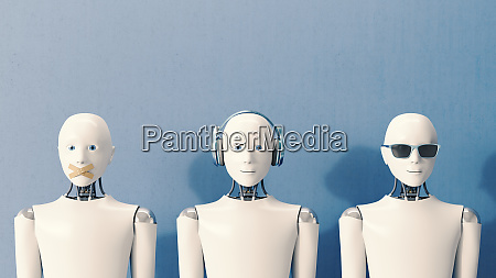 3d rendering robots speaking no evil