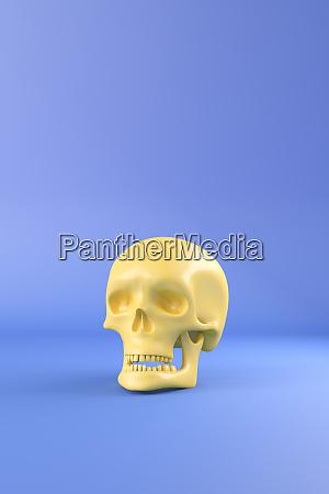 3d rendering yellow skull against blue